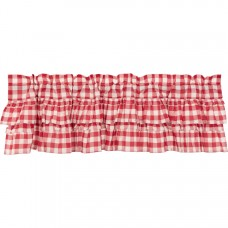 Annie Buffalo Red Check Ruffled Valance 60""