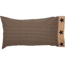 Black Check Star King Pillow Case Set