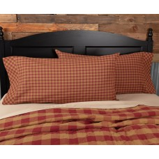Burgundy Check King Pillow Case Set