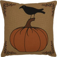 Heritage Farms Pumpkin and Crow Pillow