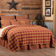 Burgundy Check Quilted Coverlet