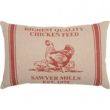 Sawyer Mill Red Hen and Chicks Pillow