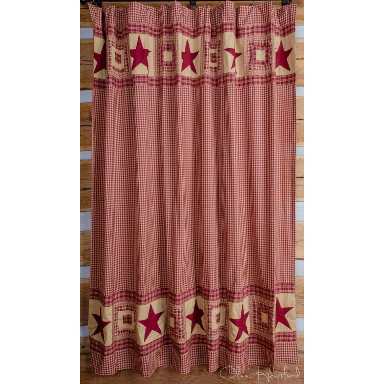 Colonial Star Burgundy And Tan Shower Curtain By Olivias
