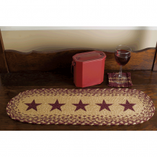 Burgundy Tan Jute Stencil Stars Table Runner
