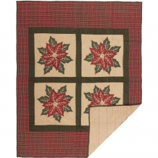 Poinsettia Block Quilted Throw