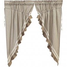 Kendra Black Stripe Prairie Curtain Set