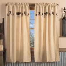 Kettle Grove Short Panel with Applique Crow & Star Valance Set