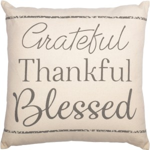 Casement Natural Grateful Thankful Blessed Pillow