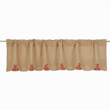 Burlap w/ Red Check Valance 72""