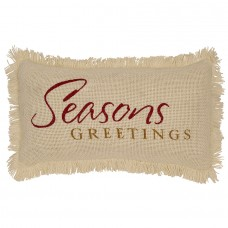 Creme Burlap Seasons Greetings Pillow