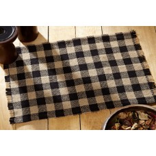 Burlap Black Check Placemat Set