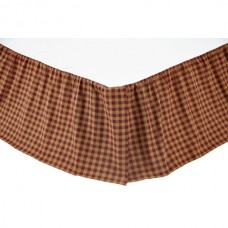 Burgundy Check Bed Skirt